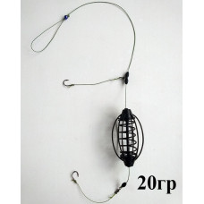 """Купить готовый монтаж 2 крючка на карася 20 гр в интернет магазине """"Рыболовный монтаж.Ру"""""""